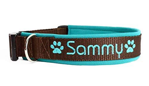 Hund&Hals - Halsband - Handmade Hundehalsband aus Gurtband mit Neopren mit Namen individuell personalisiert, große Farbauswahl, Größenauswahl, Schriftarten, vollunterlegt, teilunterlegt