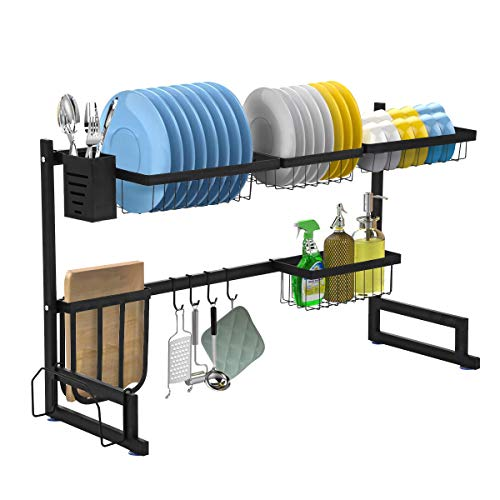 Over The Sink Dish Drying Rack, KINGSO Above Sink Kitchen Drain Drainage Rack, Stainless Steel Oversink Decor Dish Drainer Dishrack(32≤ Sink Size ≤ 39.5 inch)