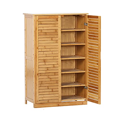 JLXJ Large Shoe Rack Cabinet with 2 Doors, Tall Free Standing Bamboo Shoes Shelf, for Entryway Hallway Front Door, Store15 Pair