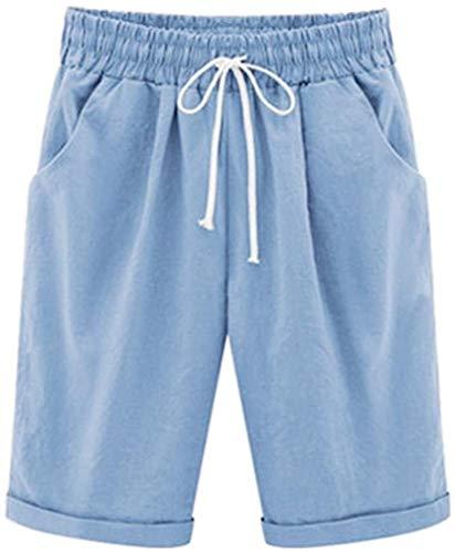 Pantalones De Mujer De Largo Casual Mujeres Vendaje Elegantes Modernas Pantalones De Talle Alto Cortos Pantalones Sólidos Playa Bermudas con Elástico Calientes del Verano Sport Pantalones Pantalones
