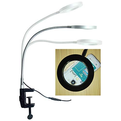Lupa de mesa con brazo de cuello de ganso ajustable y luz LED | Lupa de mesa y escritorio con 3x lupa para el cuidado Global Market (modelo gcm-9145t)
