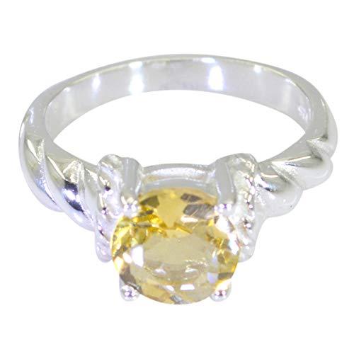 joyas plata bonita piedra preciosa forma redonda una piedra anillos citrinos facetados - anillo citrino amarillo de plata de ley 925 - nacimiento de junio géminis