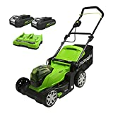 Greenworks Tools 2512607UC Cordless Lawn Mower, 48 V, Green, 2X24(48V) 41cm