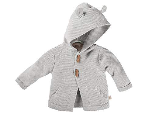 Bio Baby Strickjacke mit Kapuze 100% Bio-Baumwolle (kbA) GOTS zertifiziert, Hellblau Melange, 50/56