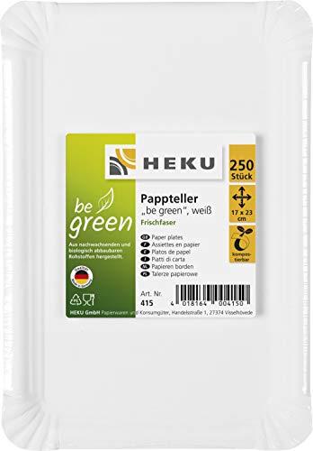 HEKU 30415: 250 Pappteller, weiß, eckig, 17x23cm, 100{22c94d80b0b85b5dab253b53a1266fa4d871742af2f19187694fd48fd5d8b1e5} Frischfaser ohne Beschichtung