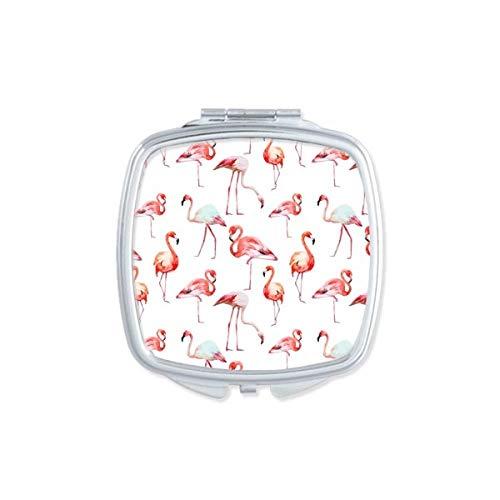 DIYthinker Flamingo Motif Rose Carré Blanc Miroir de Maquillage Compact Portable Mignon Cadeau Miroirs de Poche à la Main Multicolore