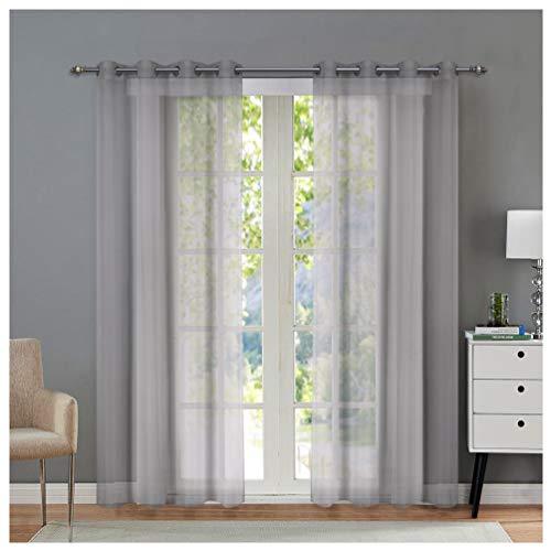 Singinglory Voile Ösen Gardinenschals 140x245cm 2er Set, Uni-Farbe Transparente Vorhänge - Grau