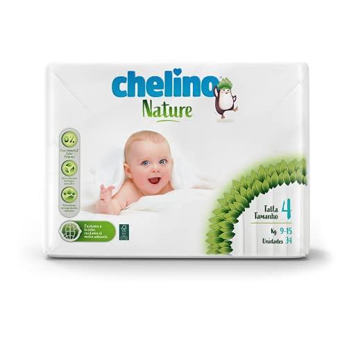 Chelino Nature Pañal Infantil Talla 4 (9-15 kg), 204 Pañales
