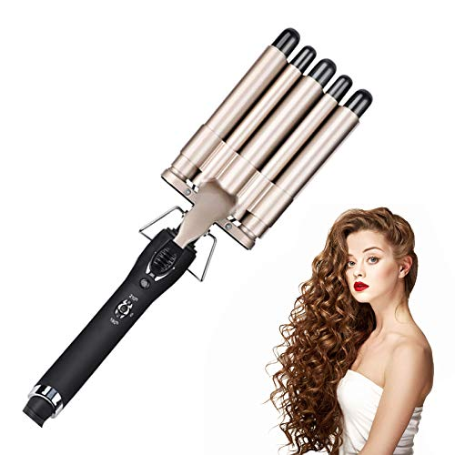 Perfson Hair Curling Iron 5 Barrel Curling Wand Temperature Adjustable Two-Gear Temp Control Hair Waver Curling Iron for Long or Short Hair Heat Up Quickly (Gold Brown)