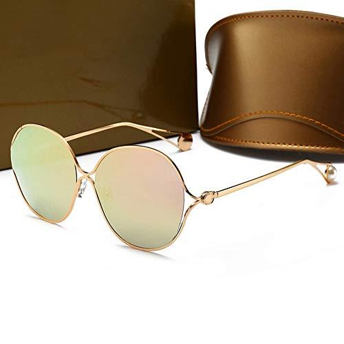 Mike Wodehous Las Gafas de Sol Elegantes de la Moda de Las Mujeres polarizadas, Marco Grande (Color : Gold/Pink)
