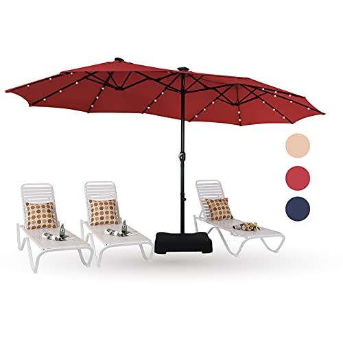 PHI VILLA 15ft Large Patio Umbrella with Solar Lights, Double-Sided Outdoor Market Rectangle Umbrellas with 36 LED Lights,...