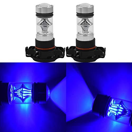 Set of 2 2504 PSX24W 100W Chip LED Fog Light Lamp Bulbs DRL Driving Lights 10000K Deep Blue High Power LED Bulbs Car Vehicle Lighting Accessories
