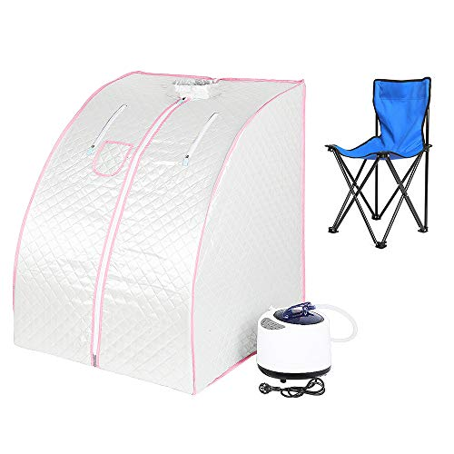 Sauna pliable cabine, Sauna infrarouge portable,Personal Spa at home Perspiration Perdre du poids avec le contrôleur de température à distance 98x80x70cm (Argent)