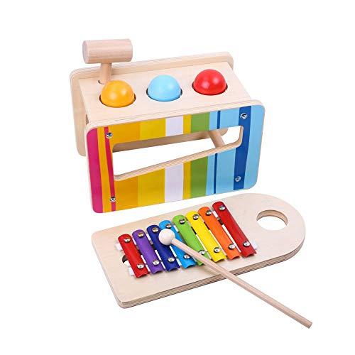 Tooky Toy Holzspielzeug Xylophon mit Hammerspiel inkl. Schlegel und Holz-Hammer - schult Klangverständnis und Koordinationsfähigkeit - ab 3 Jahren geeignet - ca. 27,5 x 14 x 20,5 cm
