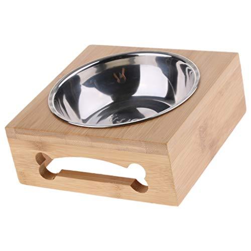Baoblaze Futterstation Erhöhte Hundenapf Katzennapf Hundeschüssel mit Bambus-Halter für Katzen und Hunde - Typ 3
