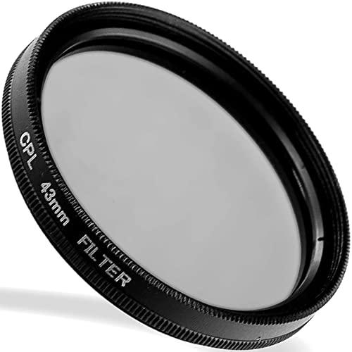 LUMOS zirkularer Polarisationsfilter 43mm - lichtdurchlässiges Glas - Metallfassung im schlanken Slim Design - Premium CPL Polfilter 43 mm