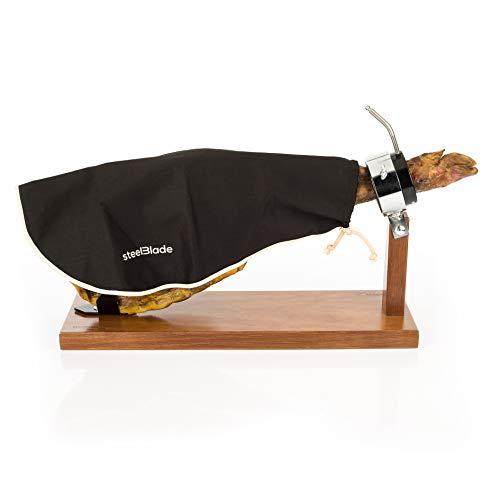 Steelblade - Cubre Jamón Color Negro con Borde Beige - 50% Algodón - Funda Jamón de 55 cm Largo - Ideal Tanto para Jamones como Paletas