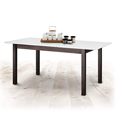 Küchentisch Ausziehbar Esszimmertisch Esstisch Erweiterbare Auszugsplatte Ausziehtisch Tisch mit Einlegeplatte Massivholz für Esszimmer 1000 + 400 x 700 x 750 mm Modell Dorado