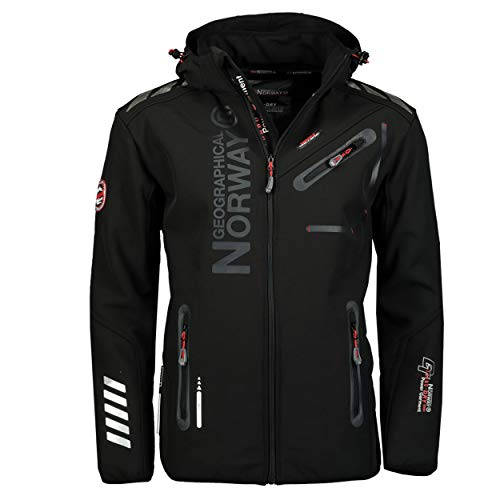 Geographical Norway Royal Men Softshell Jacke Herren Wasserdicht Jacke mit Kapuze Outdoor Windjacke Taktische Jacke Winter ideal für Aktivitäten im Freien (Schwarz Schwarz, XXL)