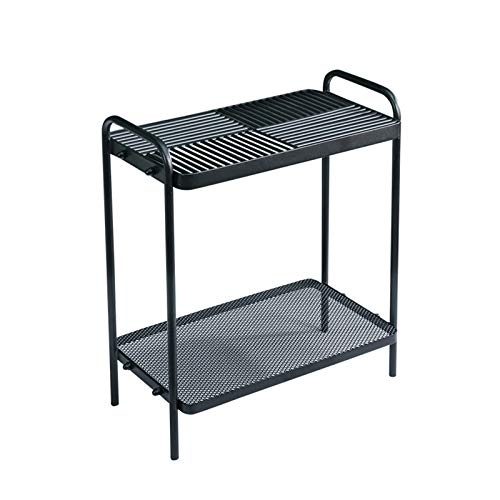HWH Iron Magazine Table, Double Layer Narrow Storage Table Children's Room Bedroom Living Room Sofa Side Table,50 * 30 * 58CM Convenient and beautiful (Color : Black, Size : 50 * 30 * 58CM)