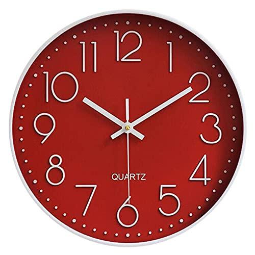 TOKTEKK Wanduhr, geräuschlos, nicht tickend, dekorativ, batteriebetrieben, runde Uhren für Zuhause, Büro, Schule, Wohnzimmer, Schlafzimmer, Küche, 30,5 cm, leicht zu lesen, Rot