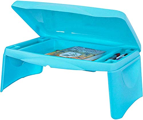 Lap Desk for Kids - Folding Lap Desk with Storage 17x11 - Aqua Blue Color - Durable Lightweight Portable Laptop Computer Children's Drawing Desks for Homework or Reading. No Assembly Required.