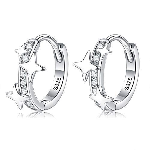 Pendientes de aro de plata de ley 925 chapados en platino con circonita cúbica, regalos de buena elección para niñas