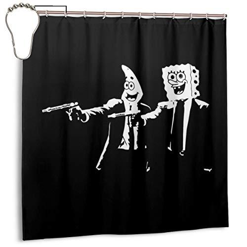 GSEGSEG Wasserdichter Polyester-Duschvorhang Spongebob & Patrick Pulp Fiction Druck dekorativer Badezimmer-Vorhang mit Haken, 183 x 183 cm