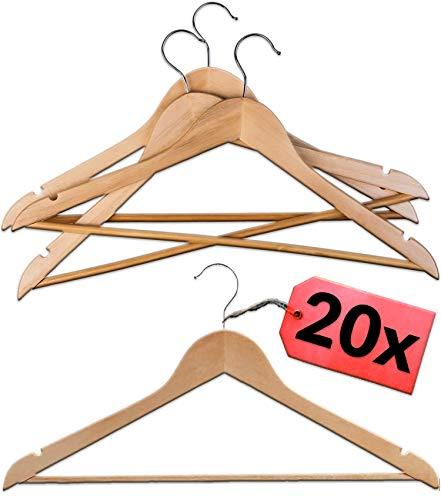 STAR - LINE 20 Kleiderbügel aus Natur Holz mit Steg | 360° Drehbarer Haken mit Hosenstange | Garderobenbügel
