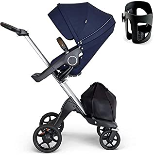 Stokke Xplory Silver Chassis, Seat - Deep Blue/Brown Leatherette Handle & Cup Holder - Black