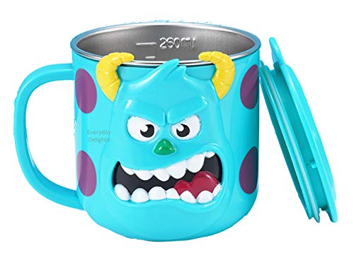 Disney 3D Monster University Sulley Blue Durable Stainless Steel Insulated Cup with Lid, 250ml