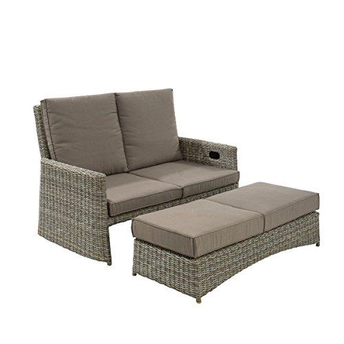 Outdoorsofa Lisa - 2-Sitzer Gartensofa- Inklusive Polster - Polyrattan - Grau