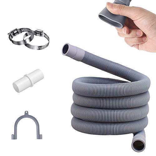 Tuyau de machine à laver,2 m Tuyau de vidange,y compris support et colliers de serrage,pour Tuyau d'alimentation pour machine à laver et lave-vaisselle,Tuyau d'évacuation d'eau (2M)