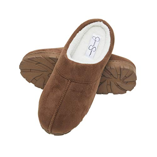 Jessica Simpson Microsuede Clog Slippers with Plush Microterry Lining and Indoor/Outdoor Sole (Size Small, Tan)