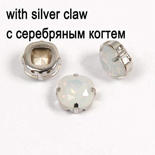 Glazen steentjes Wit Opaal Diamant Met Klauw Naaien Op Strass Metalen Basisgesp Crystal Stone 4470 Kussen Gesneden Voor Kleding