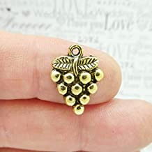 10 Grape Cluster Charm Gold by SP1781 - Crafts and Jewelry Supplies