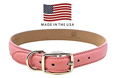 Real Leather Creations Genuine Leather Dog Collar - Pink – American Factory Direct – Various Sizes & Colors - Made in USA Dog Collar for Small SML Dog FBA2030