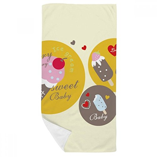 DIYthinker Cerise Coeur Popsicle Douce crème glacée Serviette de Bain Doux Gant de Toilette Gant de Toilette 35X70Cm 35 x 70cm Multicolor