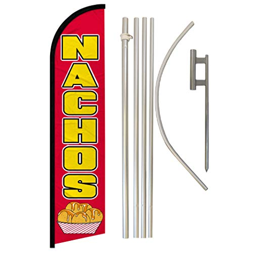 Infinity Republic - Nachos Windless Full Sleeve Banner Swooper Flag & Pole Kit - Perfect for Restaurants, Diners, Food Trucks, Markets etc!