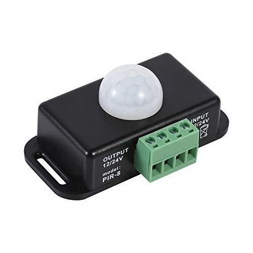 Fendysey Interruptor de luz con Sensor de Movimiento, Interruptor Detector de Movimiento de Seguridad automático Ajustable DC 12V / 24V, para módulo de Sensor de Bombilla