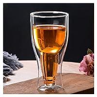 厚くなったメガネ二層ガラスの卵形のカップの絶縁家のコーヒーカップの水のカップジュースカップミルクカップ 625 (Color : 350ml beer glass)