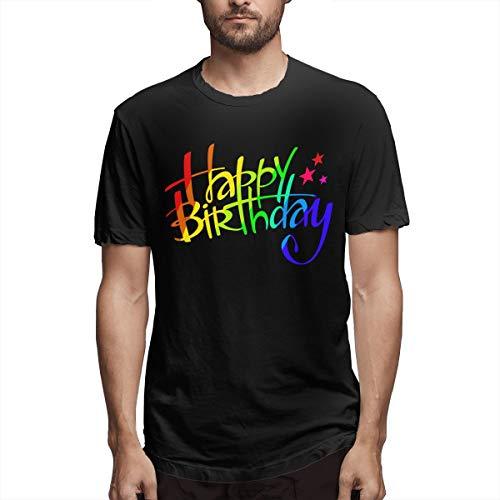 Vintage Happy Birthday Camiseta de Manga Corta para Hombre Camiseta de Color...