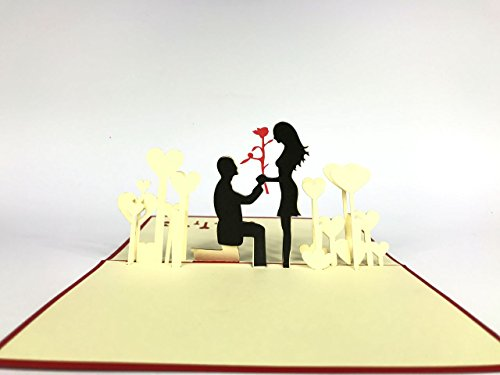 Love engagement couple 3D Pop Up Greeting Card Handmade Happy Birthday Wedding Anniversary Friendship Merry Christmas Thanksgiving Thank You Best Wish Good Luck Happy New Year Valentine's Day Red