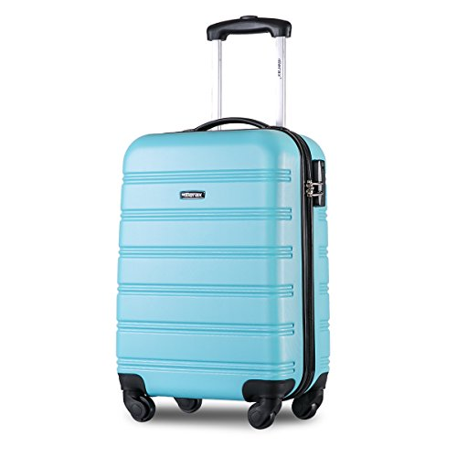 Merax  Super Lightweight ABS Hard Shell Travel Carry On Cabin Hand Luggage Suitcase with 4 Wheels, Approved for Ryanair, Easyjet, British Airways, Virgin Atlantic, Flybe and Many More (Sky Blue)