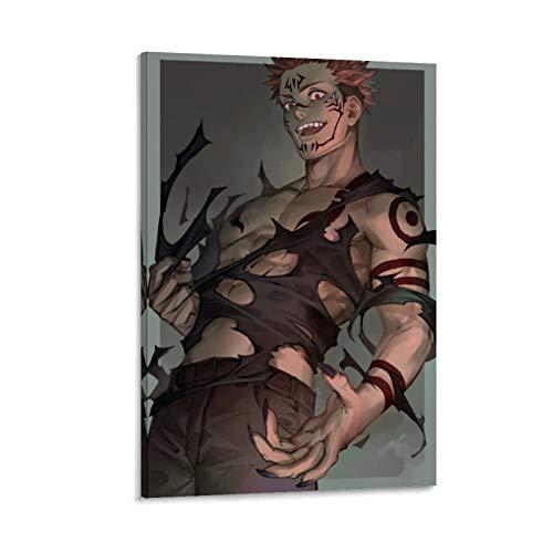 Homrkey Kunstdruck auf Leinwand, japanischer Comic, Sukuna Jujutsu Kaisen, 20 x 30 cm