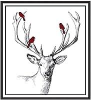 刺繡スターターキットの全範囲-鹿-クロスステッチスタンプキット初心者子供大人のためのクロスステッチパターンDIY手刺繡キット(11CTプレプリント)