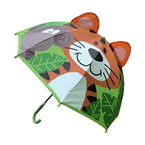 weichuang Paraguas para niños con orejas de animales para niños y niñas, mango largo, ligero, regalo de cumpleaños para la escuela, paraguas para niños (color: 3)