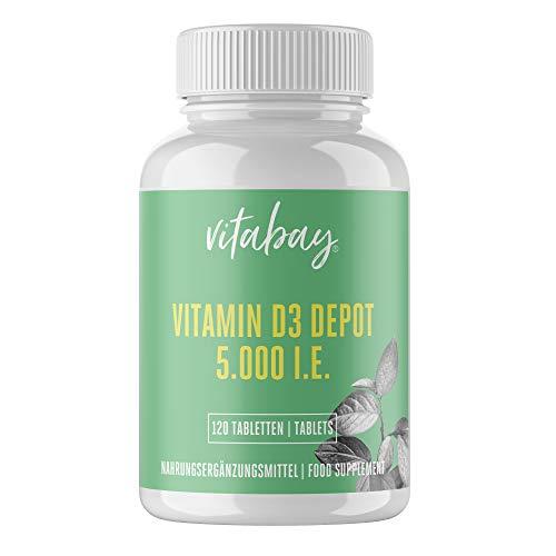 Vitabay Vitamin D3 Depot 5000 I.E. • 120 vegane Tabletten • Hochdosiert • Made in Germany