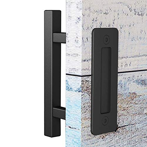 EaseLife 10 Sliding Barn Door Pull Handle with Flush Hardware Set,Heavy Duty,Solid,Square,Rustic Style,Black Powder Coated Finish,Easy Install