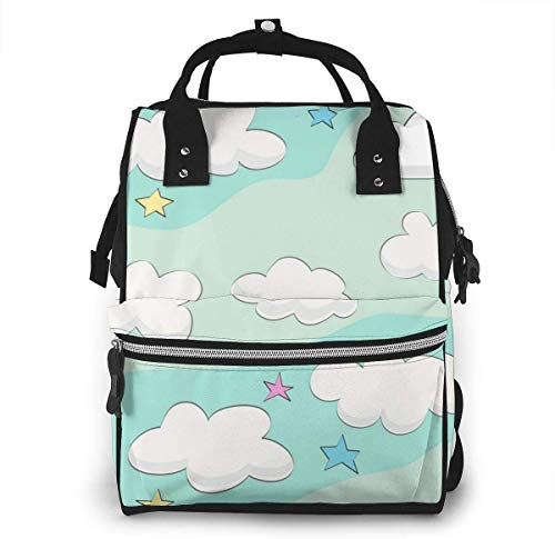 UUwant Sac à Dos à Couches pour Maman Large Capacity Diaper Backpack Travel Manager Baby Care Replacement Bag Nappy Bags Mummy Backpack,(The Clouds in The Sky are Another Piece